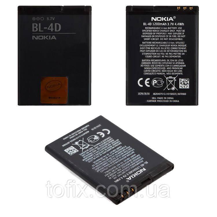 Батарея (акб, аккумулятор) BL-4D для телефонов Nokia, 1200 mAh, оригинал