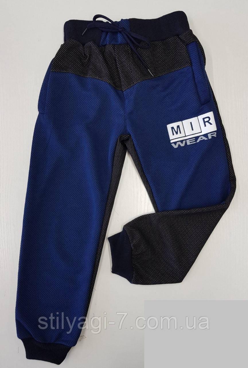 Спортивные штаны для мальчика на 9-12 лет синего цвета с надписью оптом