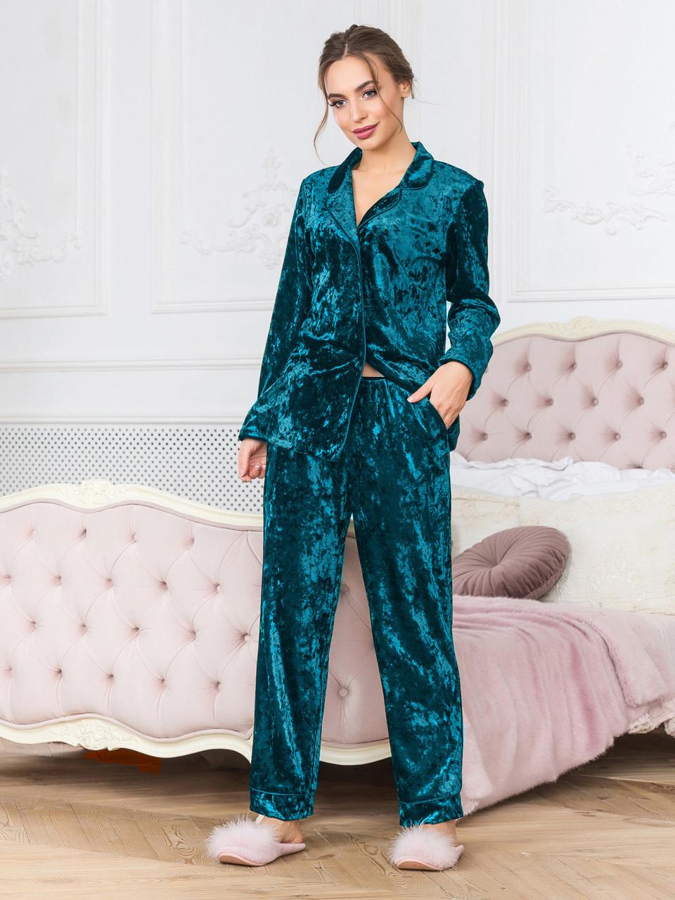 bec5cceb8c0 Зеленый бархатный брючный костюм пижама Кристи - DS Moda - женская одежда  оптом от производителя в