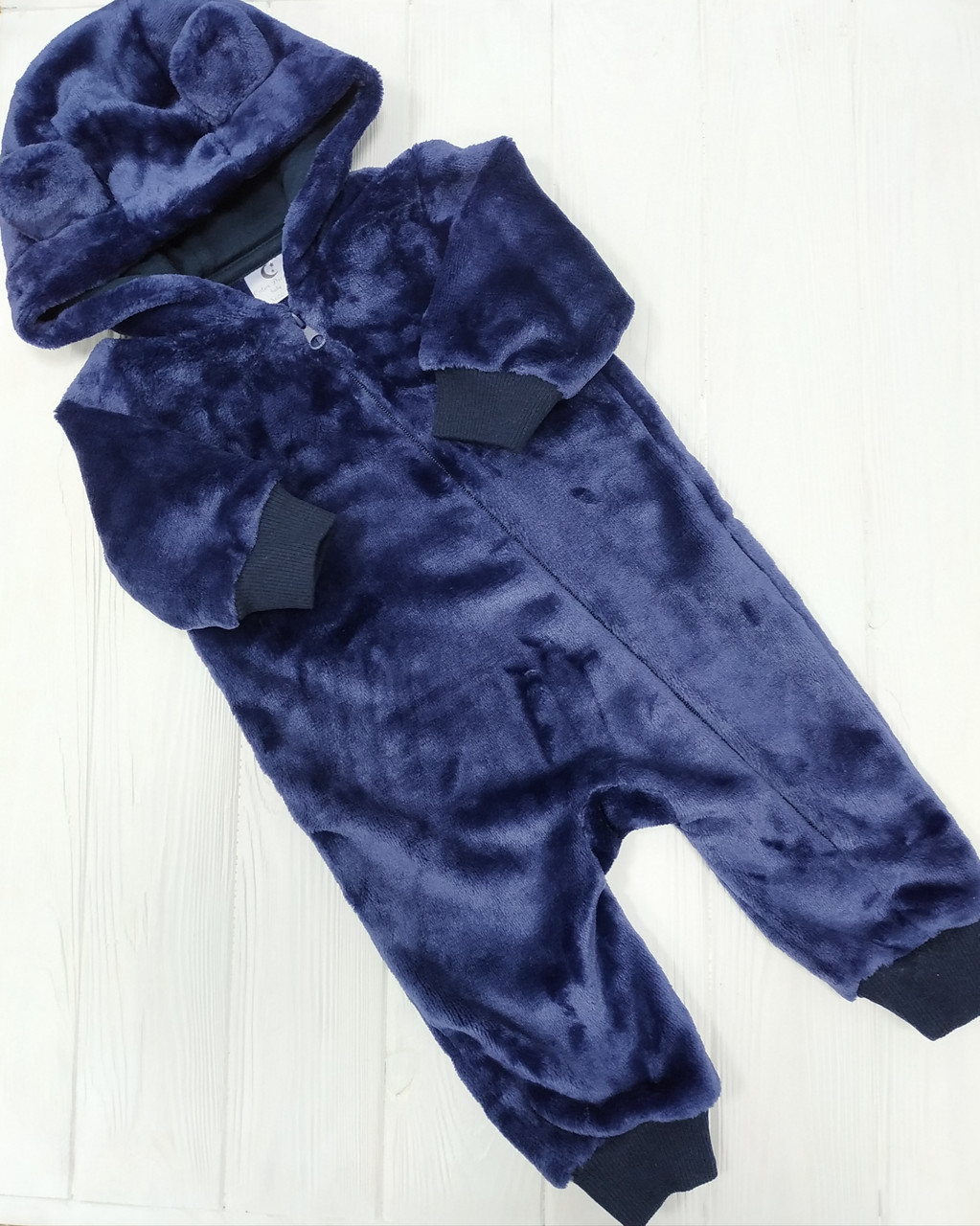 Утепленный человечек с ушками для новорожденного Темно-Синий