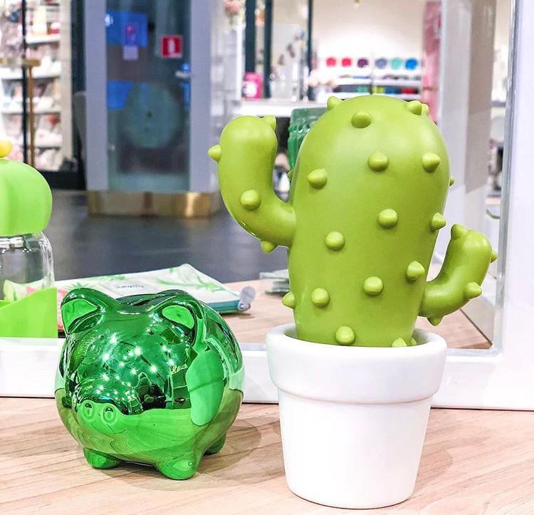 Детский светильник ночник-игрушка с таймером и 5 режимами подсветки Dhink Кактус, зеленый