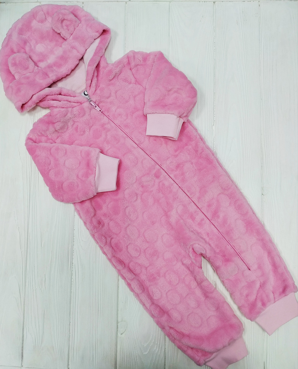 Утепленный человечек с ушками для новорожденного Розовый