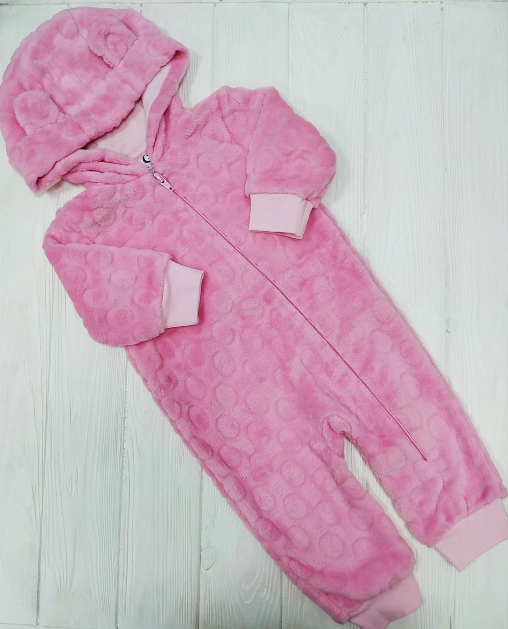 Утепленный слип с ушками для новорожденного Розовый