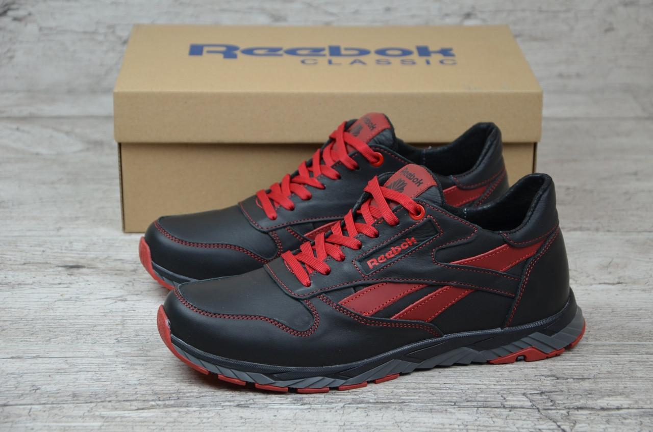 Мужские кожаные кроссовки Reebok. Черно-красные. Натуральная кожа