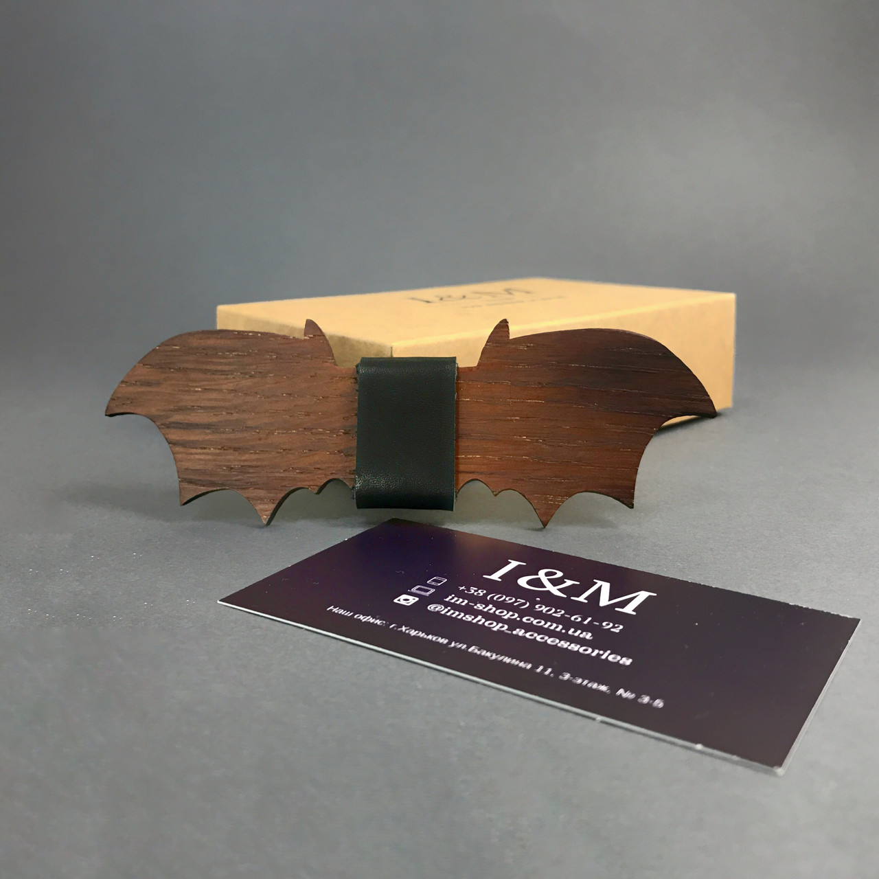 Краватка-метелик I&M Craft з дерева у формі летючої миші (011202)
