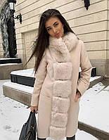 Пальто  женское с меховой отделкой из песца, фото 1