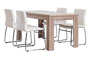 Комплект кухонный ( стол 160 см + 4 стула белый кож. зам), фото 1