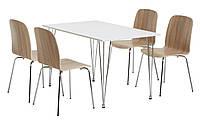 Комплект кухонный  (обеденная группа из стола прямоугольного белого + 4 стула), фото 1