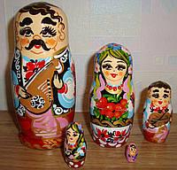 Украинская расписная матрёшка, из 5-ти штук маленькая 543