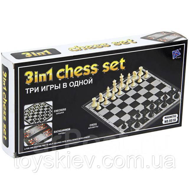 Игра Шахматы Нарды Шашки (3 в 1). Размер доски 24,5*24,5 см. №9518