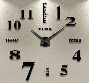 """Часы настенные 3D наклейки """"DIY"""" от 50 до 70 см цвет черный (ZH520-B)"""