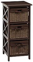 Комод с 3-мя плетенными ящиками, цвет коричневый, фото 1