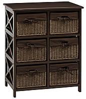 Комод дерев'яний з 6-ма висувними ящиками, колір (венге) коричневий, фото 1