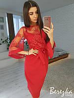 Платье с кружевом сверху и широким рукавом 66PL2372, фото 1