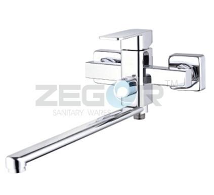 Смеситель для ванна Zegor 35 LEB7 EVRO длинный гусак, квадрат