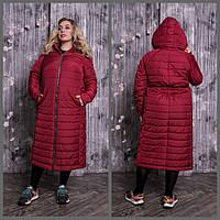 Женское стеганное пальто в больших размерах с капюшоном 10BR1326, фото 1