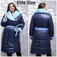 Женское теплое пальто плащевое под пояс в больших размерах 6BR1340, фото 1