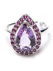 Кольцо серебряное с рубином и аметистом