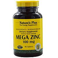 Мега Цинк (Mega Zinc), Nature's Plus, 100 мг, 90 таблеток