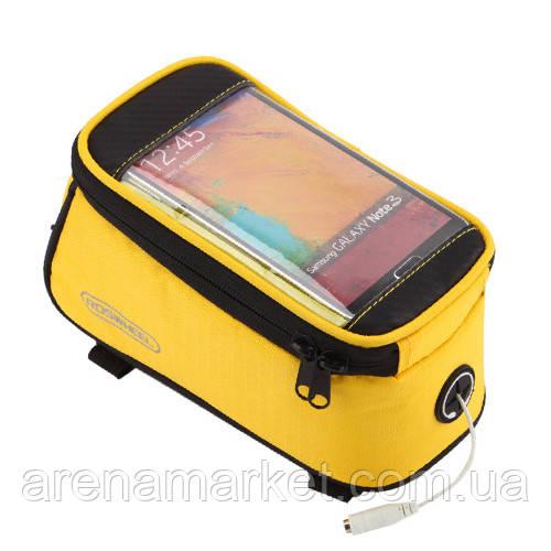 """Велосипедна сумка Roswheel на раму з прозорим відділенням під смартфон 5.5"""" з внутрішнім об'ємом 1.7 л"""