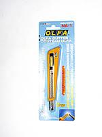 Нож OLFA с выдвижным лезвием, с противоскользящим покрытием, автофиксатор, 9 мм