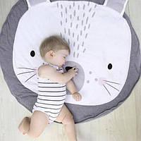 Детский игровой коврик из хлопка на пол (серый зайка)