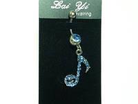 Пирсинг, Скрипичный ключ, голубые стразы  17_1_129a4