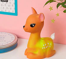 Детский светильник ночник-игрушка с таймером и 5 режимами подсветки Dhink Олененок, коричневый
