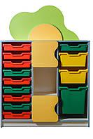 """Стеллаж для игрушек """"Цветочная поляна"""" секция с пластиковыми ящиками, фото 1"""