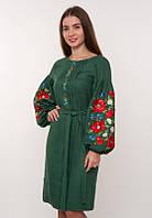 Эксклюзивное льняное платье Маки зеленое