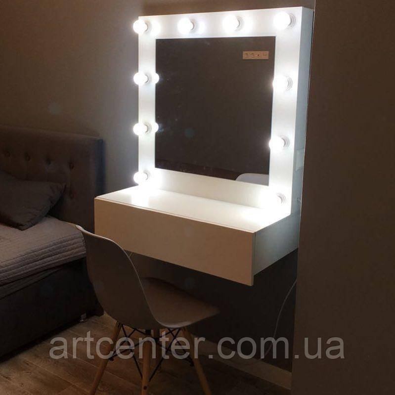 Туалетний столик без ніжок, навісна, для дому, підвісне гримерное дзеркало в рамі, білий стіл візажиста