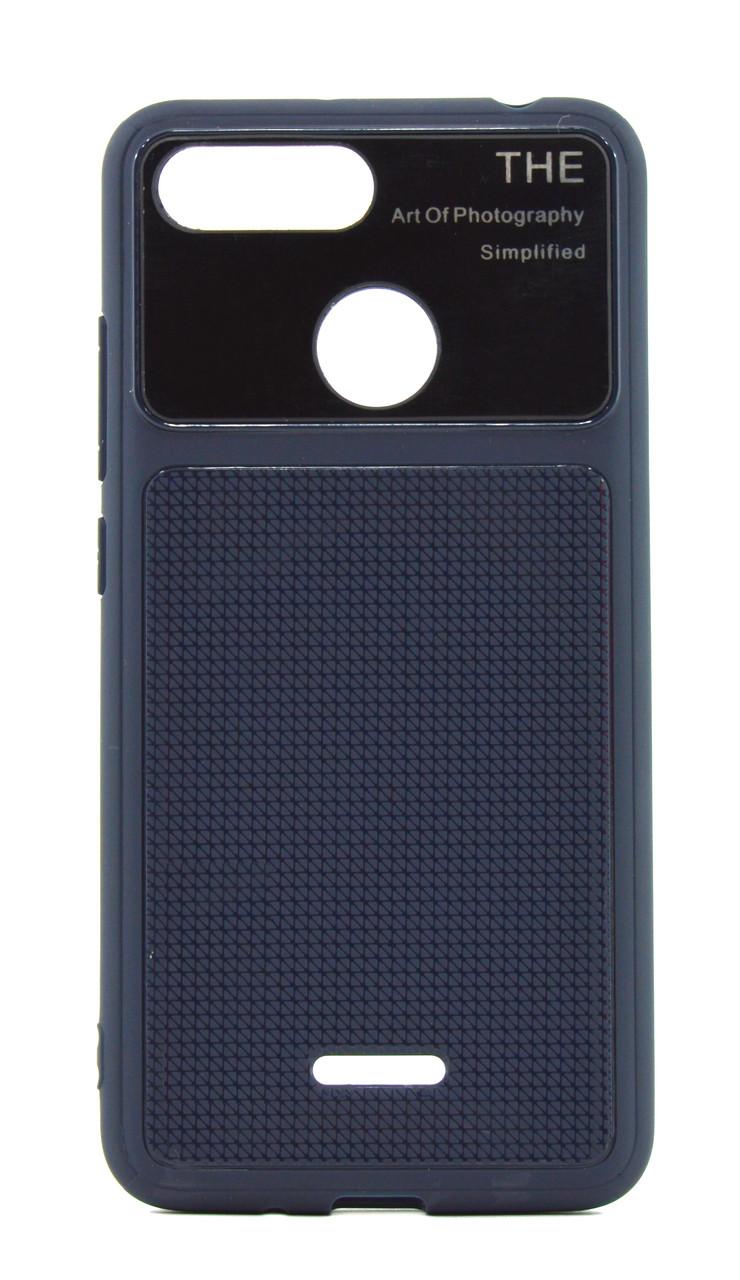 Чехол накладка для Xiaomi Redmi 6 Glossy Half TPU Синий