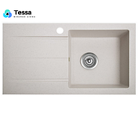 Мойка кухонная гранитная Tessa Prima white 77001