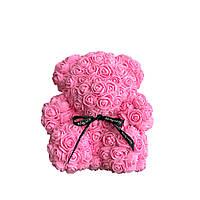 Мишка из роз в коробке 25 см - СВЕТЛО РОЗОВЫЙ