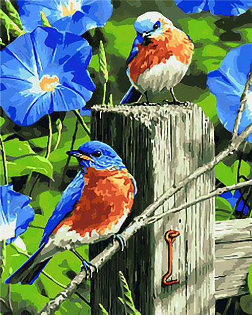 Картини з номерами на полотні Весняні гості KHO4090