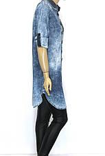 Джинсовая рубашка-туника  с вышивкой Donna Lila, фото 3