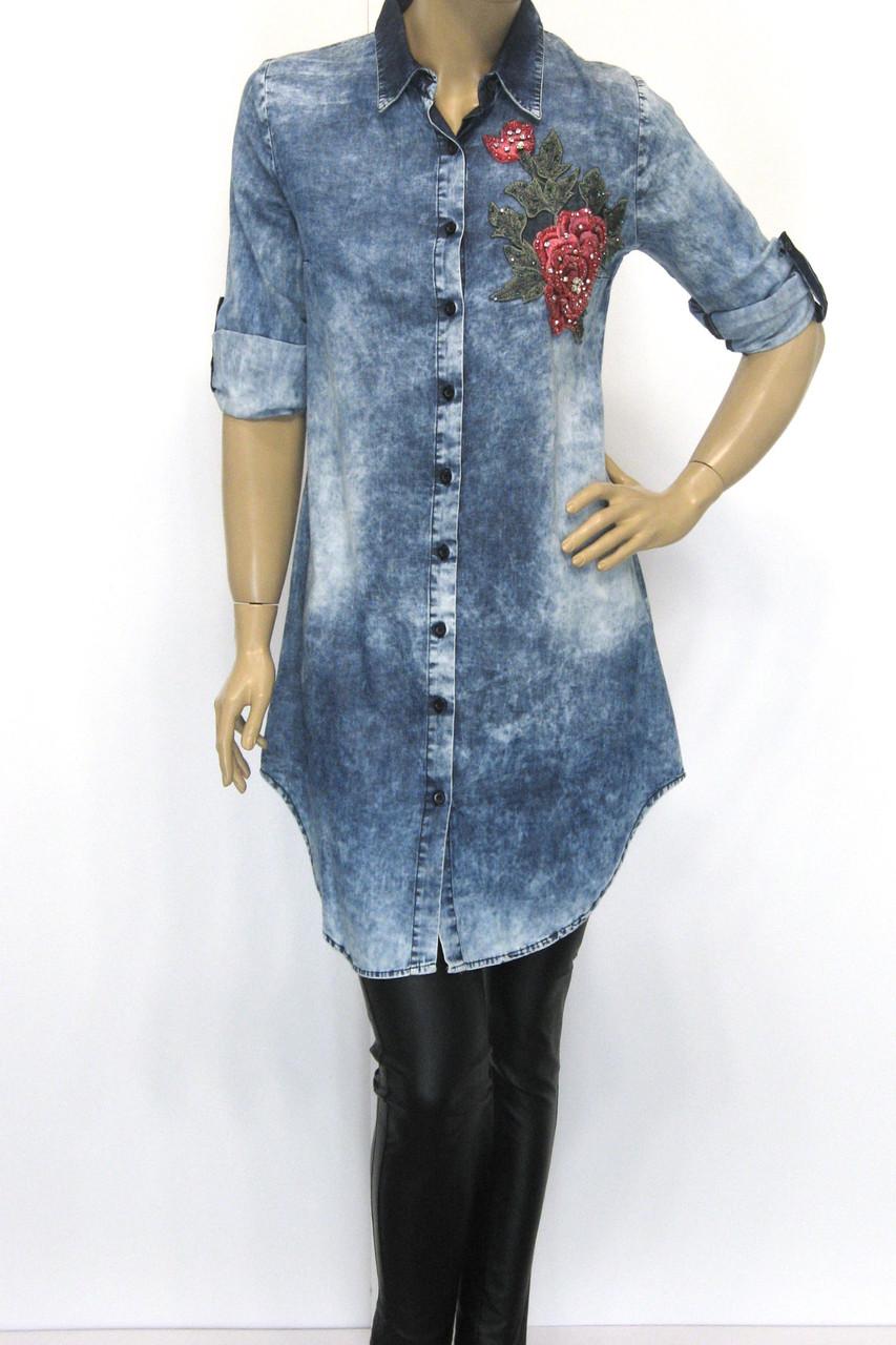 Джинсовая рубашка-туника  с вышивкой Donna Lila