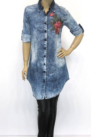 Джинсовая рубашка-туника  с вышивкой Donna Lila, фото 2