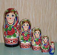 Украинская расписная матрёшка, из 5-ти штук маленькая 537