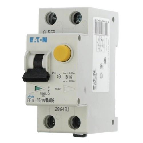 Дифференциальный автомат PFL6 1+N, 16A, 30mA, х-ка С, 6кА, тип AС Eaton, 286467