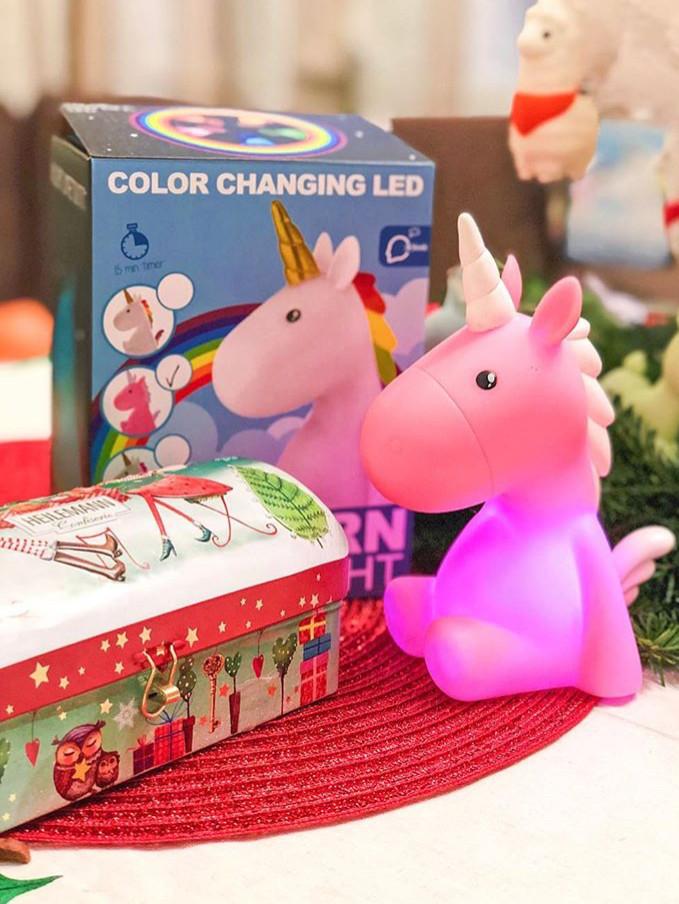 Детский светильник ночник-игрушка с таймером и 5 режимами подсветки Dhink Единорог, розовый
