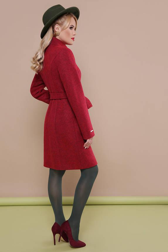 Модное женское бордовое шерстяное пальто весна на молнии, фото 2