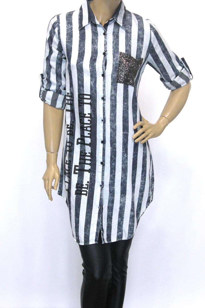 Рубашка в полоску женская удлиненная