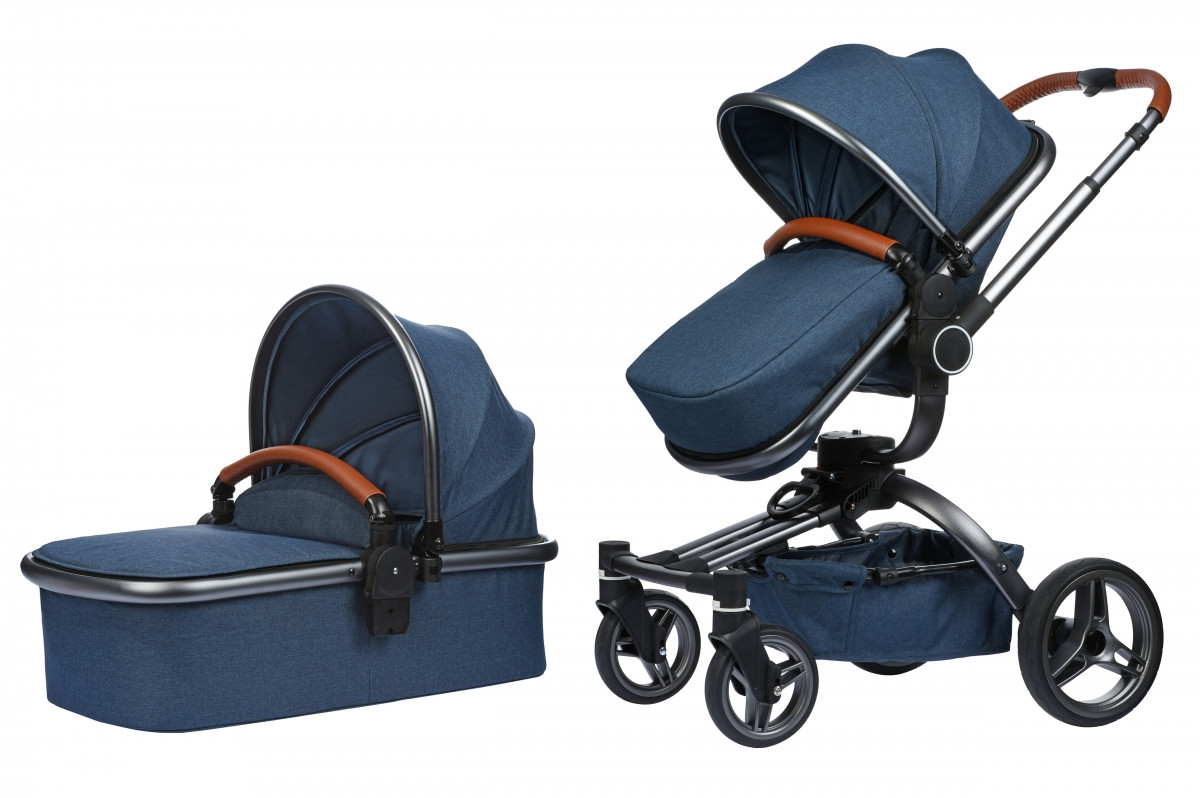 Коляска Miqilong V-Baby X159 синяя 2в1