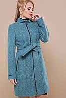 Модное женское шерстяное пальто весна на молнии бирюзовое