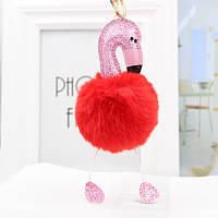 Меховой брелок фламинго (красный) Br004