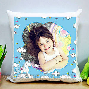 Детская подушка с фото и Единорогом