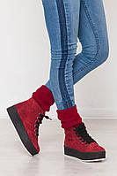 Бордовые ботинки в спортивном стиле кеды высокие демисезонные замшевые толстая подошва 4,5 см платформа