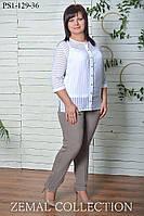 Классические брюки, зауженные книзу для женщин больших размеров СВЕТЛАЯ СИРЕНЬ 56,60р
