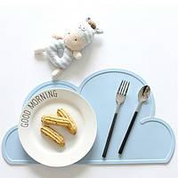 Детский сервировочный коврик силиконовое облако на стол (голубой)